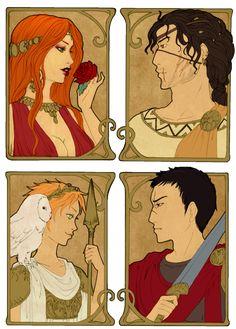 - Greek Gods III - by ooneithoo on DeviantArt Aphrodite , Héphaïstos, Athéna & Arès