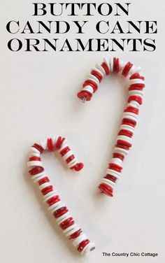 Button Candy Cane Christmas Ornaments -- handmade ornament tutorial that will have your tree full of button candy canes in no time.: