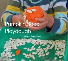 My preschoolers enjoyed spending time exploring pumpkin seeds and playing with pumpkin seed play dough!