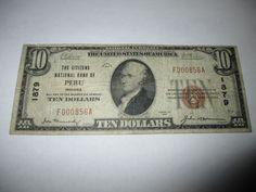 $10 1929 PERU INDIANA IN NATIONAL CURRENCY BANK NOTE BILL CH. #1879 FINE