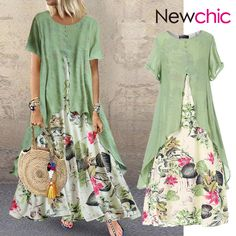 O-NEWE vendimia Patchwork estampado Verano Plus Talla Maxi Vestido con bolsillos… O-NEWE Vintage Print Patchwork Summer Plus Size Maxi Dress with Pockets – NewChic Mobile Suit Shoes, Dress Shoes, Plus Size Maxi Dresses, Short Sleeve Dresses, Comfy Dresses, Dress Casual, Backless Dresses, Casual Boots, Casual Outfits