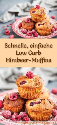 Rezept für schnelle Low Carb Himbeer-Muffins- kohlenhydratarm, kalorienreduziert, ohne Zucker und Getreidemehl