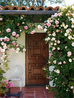 Beautiful wood door surrounded by climbing roses
