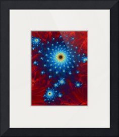 """Cellia"" by Sharon Sims, Palm Harbor // A vivid red and blue star burst fractal print. // Imagekind.com -- Buy stunning fine art prints, framed prints and canvas prints directly from independent working artists and photographers."