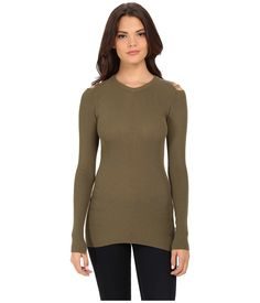 Diesel Women's M-Jets Pullover Olive/Green Shirt. Diesel Size Guide. Update your look with the addition of this contemporary Diesel® sweater. Slim, elongated body. Ribbed construction. Sweater features an open shoulder with finely attached yarn detail. Round neckline. Long sleeves. Brand hardware featured at bottom hem. Split hemline. 90% rayon-viscose, 10% polyester. Hand wash cold, dry flat in shade. Made in Italy. Measurements: Length: 32 in Product measurements were taken using size…