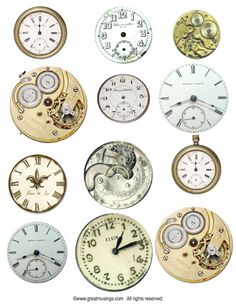 Steampunk watch dials Digital collage sheet of vintage watch dials - great steampunk images.
