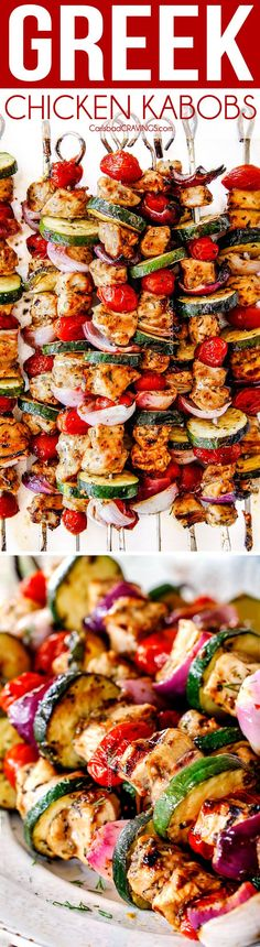 Greek Chicken Kabobs (Chicken Souvlaki) with melt-in-your mouth zesty, juicy chicken, smoky zucchini, bursting tomatoes and tangy, creamy Feta Yogurt Dip is a meal-in-one and super easy to make at home!  Serve it straight off the skewer or add chicken to pitas with all your favorite toppings! via @carlsbadcraving
