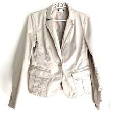 J. Crew Womens Medium Blazer 65594 Jacket Tan Chino Single Button Flap Pockets  #JCREW #Blazer