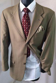 Joseph & Feiss International Men's Taupe Suit Jacket | 40S Sport Coat | Free Tie