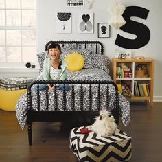 Black and White made playful with our Loves Me, Loves Me Not Bedding.