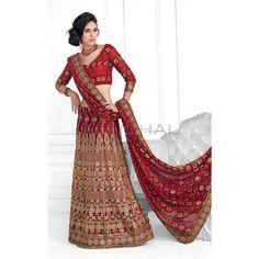 Red Faux Georgette #Lehenga With Matching Red Choli And Dupatta #IndianLehenga #WomenClothing #EthnicWear #WomenWear #WomenFashion