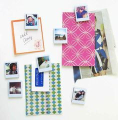 Decorate your fridge with mini polaroid magnets. http://www.ambrosiagirl.com/blog/tiny-polaroid-magnets/