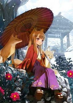 Anime girl, , fox ears, , fox tail, , sitting, , umbrella, , long hair, , foxes, , shrine, , flowers, , snow, , red eyes, , priestess