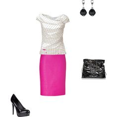 """Chanel - ish, created by marjreynolds    I'm not one for """"loud"""" colors in my wardrobe, but I really like this for some reason."""