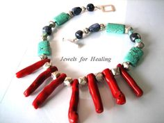 Necklace- Coral sticks - Turquise beads- Sodalite nuggetz - Sterling silver door Jewelsforhealing op Etsy https://www.etsy.com/nl/listing/28939120/necklace-coral-sticks-turquise-beads