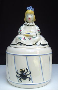 Vintage Nursery Rhyme 'Little Miss Muffet' Cookie Jar 662 Abingdon Pottery | eBay
