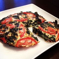Ripped Recipes - Chunky Tomato and Spinach Egg White Quiche - So bomb and full of protein! Perfect meal prep with 4 ingredients and servings.