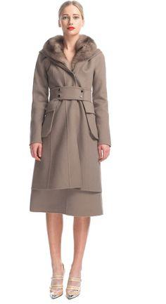 Sable Trim Hooded Coat - Lyst