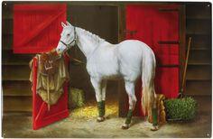 Magnetpinnwand Reitstall/Pferd 60x40 cm inkl. 8 Magnete Pferde