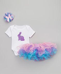 Look what I found on #zulily! So Girly & Twirly White Bunny Bodysuit Set - Infant by So Girly & Twirly #zulilyfinds