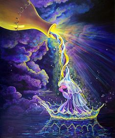 Get Ready by Nancy Cup. Love this beautiful spiritual image. The anointing oil looks like rainbow-infused DNA (DNA is a symbol that comes up often in my work as well)