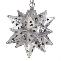 Moravian Star Pendant with Silver Star Pierced Tin