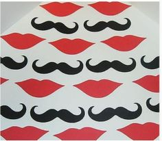 50 Black Mustache Moustache Red Lips Photo Prop Die by CraftyBooth, $5.00