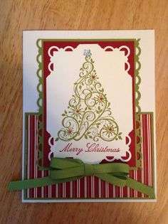 Stampin Up Christmas card - elegent Christmas tree. Etsy.