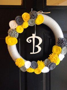 Monogrammed Gray and Yellow Felt Wreath by whatawhirlpinwheels, $37.00