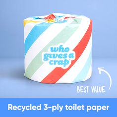 100% Recycled Toilet Paper - 3-ply - Double Length Rolls. Portion of profits used to help build toilets for people in need.