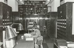 Finnish Literature Society´s Archive Room after renovation in 1950. Perforated brass reading lamps by Tynell and Taito Oy. Image copyright SKS.