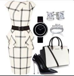 White n black work outfit Classy Outfits, Chic Outfits, Fashion Outfits, Womens Fashion, Classy Dress, Work Outfits, Business Attire, Business Fashion, Business Formal