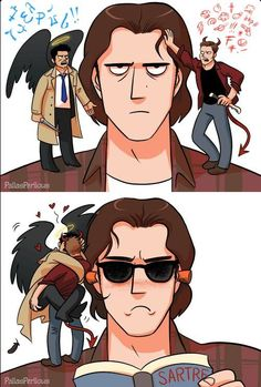 Saw this and I was like, that's what my angel and demon do too lol😂😂 Sammy Supernatural, Supernatural Drawings, Supernatural Tattoo, Sapo Meme, Destiel Fanart, Angels And Demons, Cute Gay, Superwholock, Funny Comics