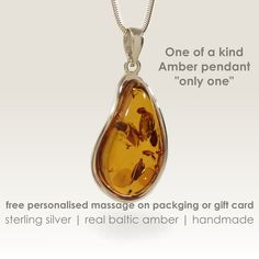 Unique anniversary gifts,One of a kind Amber Pendant,Amber Jewellery,Real Amber Jewelry,Gift Jewelry,Baltic amber jewelry,Unique pendant by ZaNaDesignEtsy on Etsy