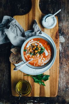 Tomato Soup with Smokey Chickpeas & Oregano