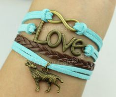 Bronze love bracelet infinity wish bracelet wolf by happygarden999, $5.29