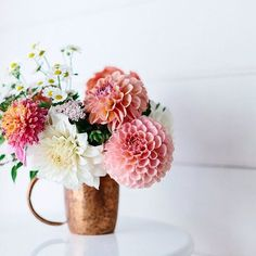 21 Fresh Cut Spring Flower Arrangements and Bouquets {Re-gram} from You're making us see spring with this mix of vibrant colors! We love the accent of the copper mug! My Flower, Fresh Flowers, Spring Flowers, Beautiful Flowers, Spring Blooms, Simply Beautiful, Easter Flowers, Orchid Flowers, Bright Flowers
