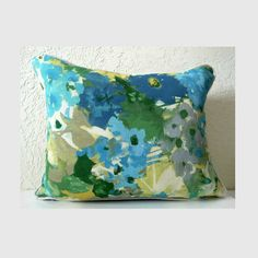 Meadowland Blue Floral Pillow - retro inspired flower prints  #floralprint