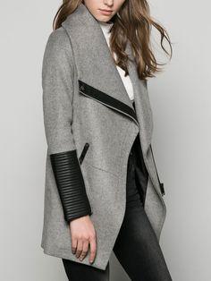 Grey Long Sleeve Lapel Coat 37.67