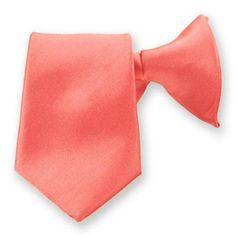 Boys Coral Solid 14 Clip On Pre-Tied Necktie Tie Neckwear