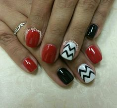 Black white and red nails. Chevron nails. #PreciousPhanNails