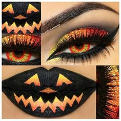 """love the eye, strong orange lip instead, pumpkins on cheeks, candy corn nose, orange top, yoga pants"" was the caption. I'm not pinning this because I like it. I'M PINNING BECAUSE IS HORRIFYING."