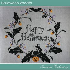 Halloween Wreath – Cross stitch chart – PDF Pattern – Instant Download