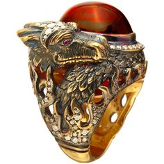 Queensbee - Dragon Year Ring ($1,005) ❤ liked on Polyvore featuring jewelry, rings, accessories, cocktail jewelry, holiday jewelry, cocktail rings, evening jewelry and special occasion jewelry