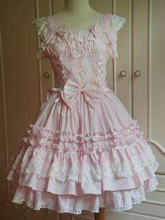 Sweet Pink Cotton Sleeveless Lace Lolita One-Piece - Milanoo.com