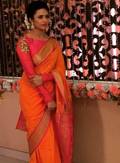 Ishita Bhalla in Orange Saree in Yeh Hai Mohabbatein Full Sleeves Blouse Designs, Silk Saree Blouse Designs, Saree Blouse Patterns, Kurta Designs, Traditional Blouse Designs, Bridesmaid Saree, Orange Saree, Dress Indian Style, Indian Wear