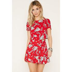Forever 21 Women's  Floral Crop Top ($15) ❤ liked on Polyvore featuring tops, woven top, flower print crop top, red top, short sleeve crop top and rayon tops