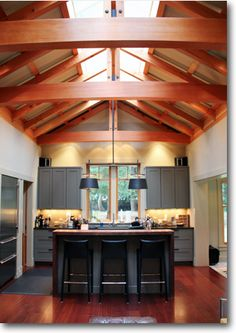 Ross Chapin Architects - love the use of natural light and wood beams, although the kitchen's a bit small