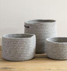 Gray & Natural Cablelock Wool Basket - Large  E3005