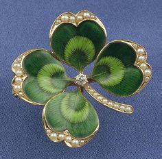Antique 14kt Gold and Enamel Four-Leaf Clover Pendant/Brooch, Krementz & Co. | Sale Number 2323, Lot Number 426 | Skinner Auctioneers